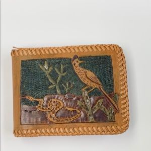 Vintage Tooled Leather Wallet Stitched